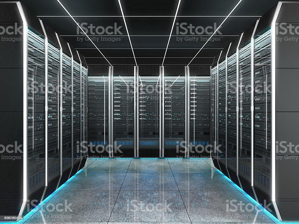 Futuristic interior of server room in datacenter stock photo