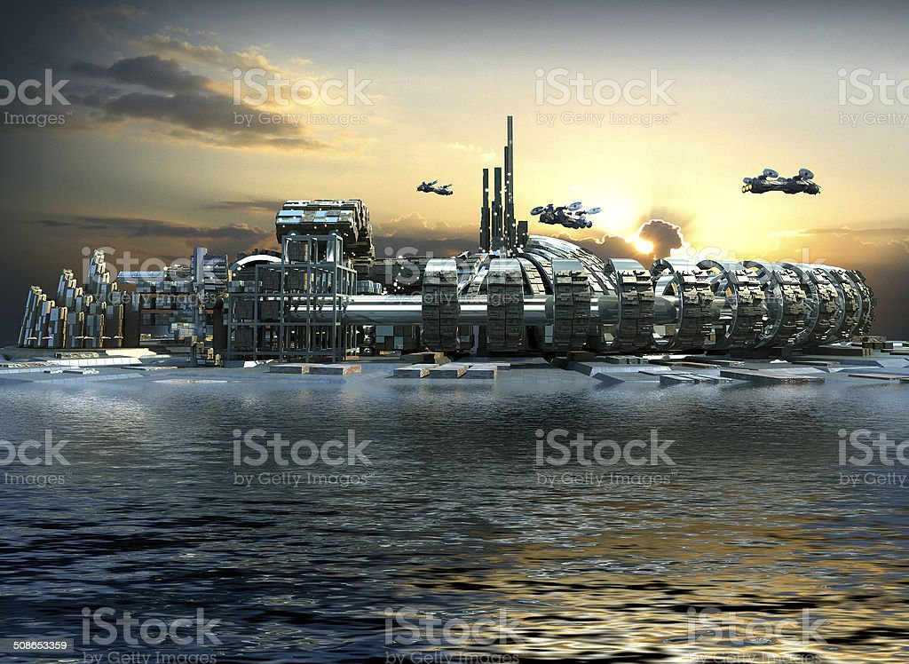Futuristic island city stock photo