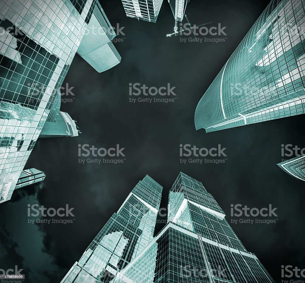 futuristic landscape of silhouettes of skyscrapers stock photo