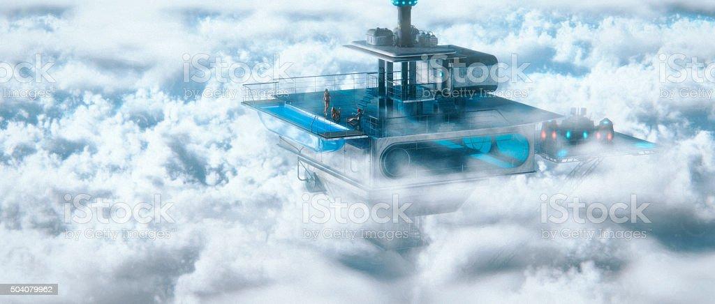 Futuristic living, villa above the clouds stock photo