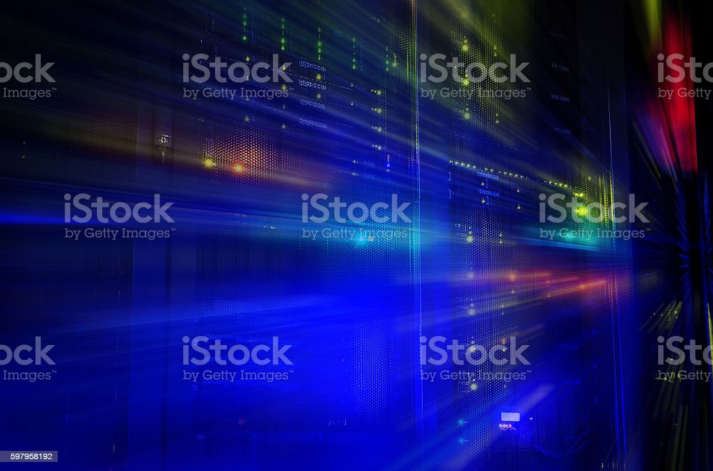 futuristic look of room with mainframe in data center. stock photo