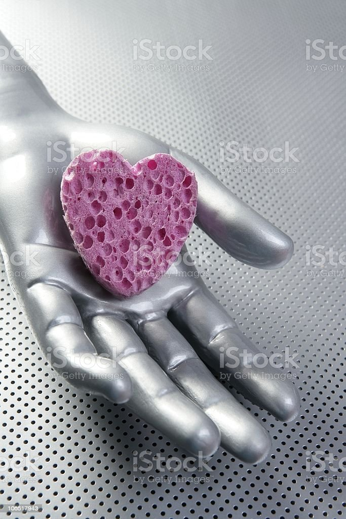 Futuristic love silver valentine heart royalty-free stock photo