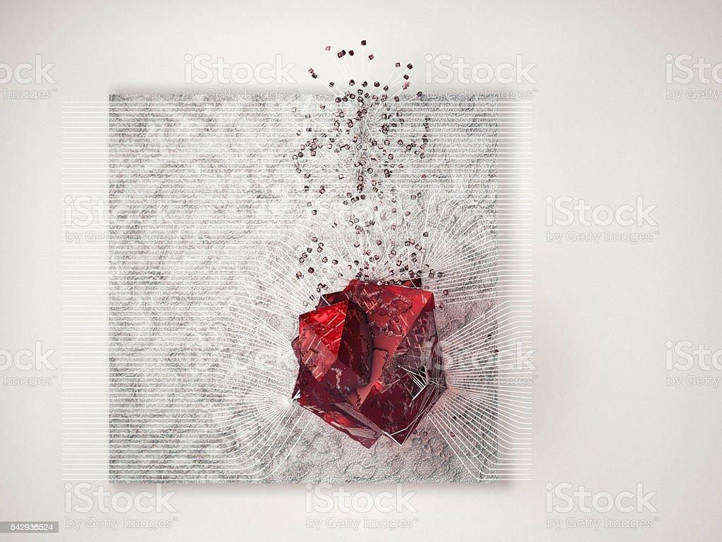 Futuristic luxury dream, abstract rubin on metallic surface stock photo