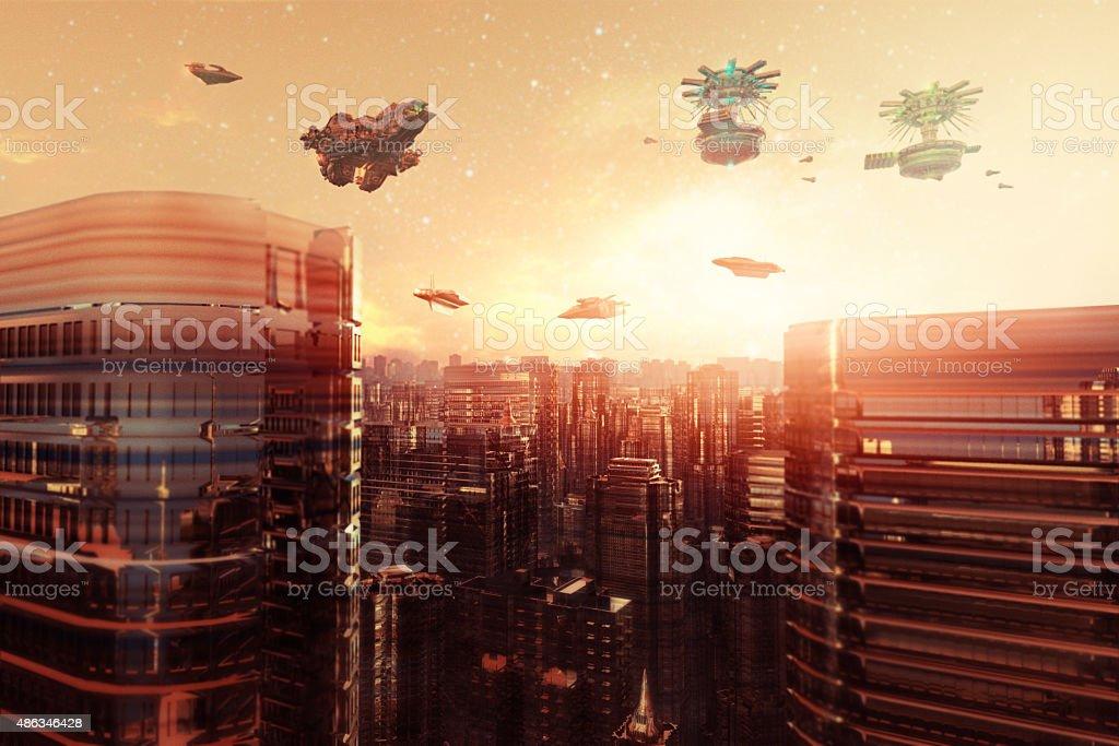 Futuristic mega cityscape at sunset stock photo