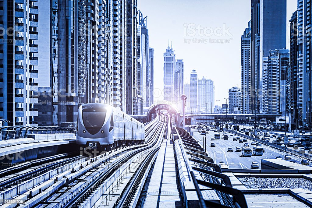 Futuristic metro along Sheikh Zayed Road, Dubai, United Arab Emi stock photo
