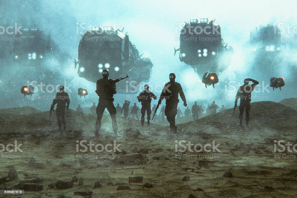 Futuristic military invasion at night stock photo