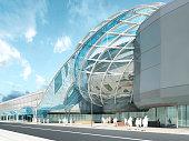 Futuristic modern design mega mall glass and steel.