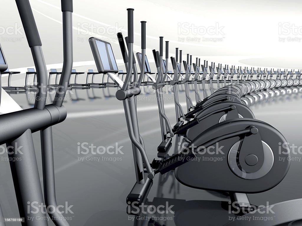 Futuristic modern gym with elliptical cross trainer stock photo