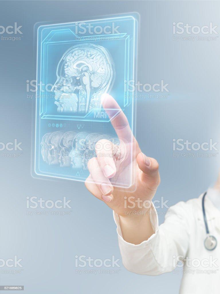 Futuristic MRI scan stock photo
