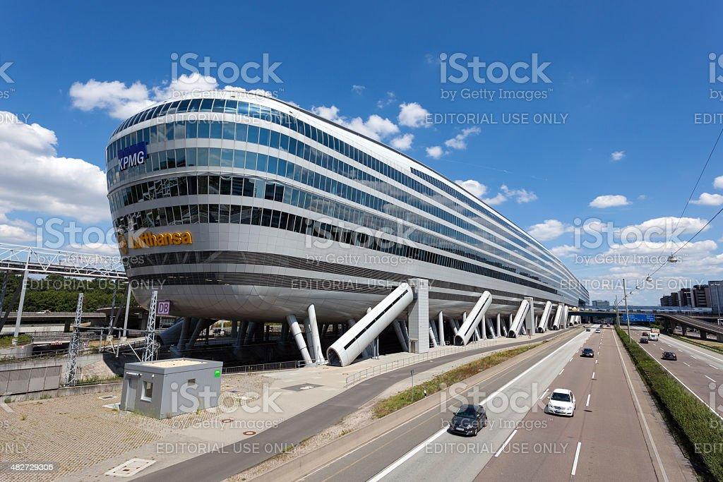 Futuristic office building at the Frankfurt Airport stock photo