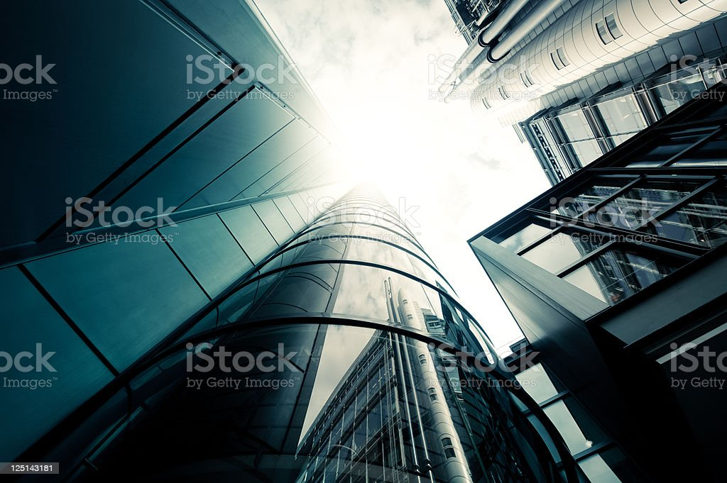 Futuristic office building staircase stock photo