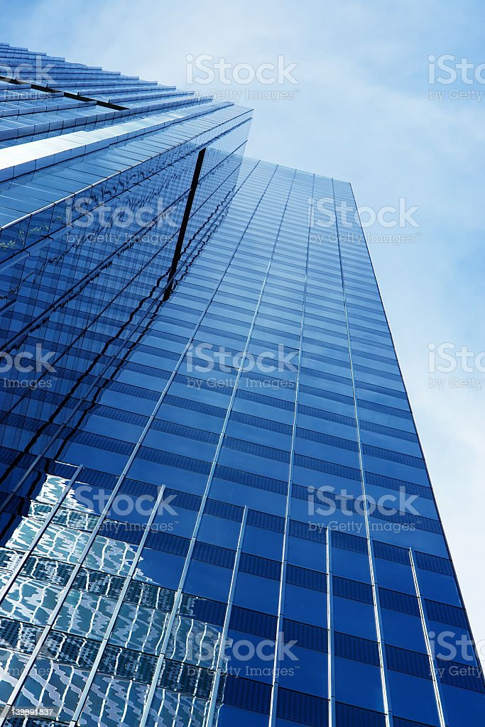 Futuristic office building view with reflection on Windows royalty-free stock photo