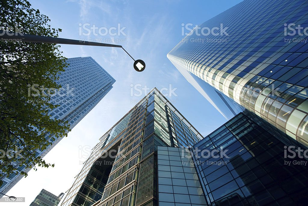 Futuristic Office Buildings at Canary Wharf, London royalty-free stock photo