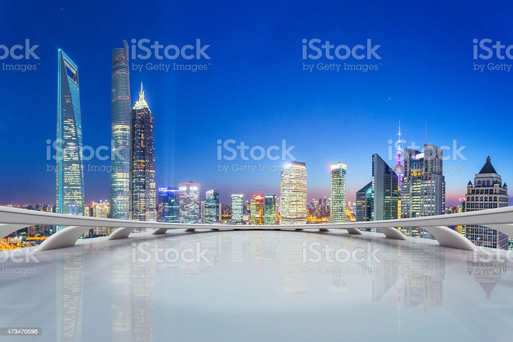 futuristic office with modern skyline stock photo