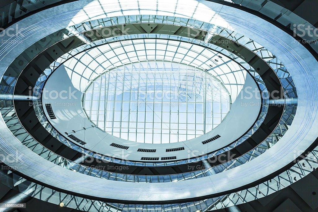Futuristic Oval Office Building Interior, Vertically Upwards View stock photo