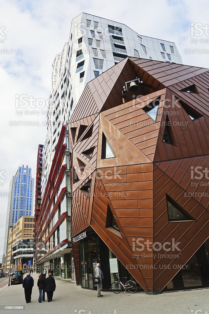 futuristic Pauluskerk in Rotterdam stock photo