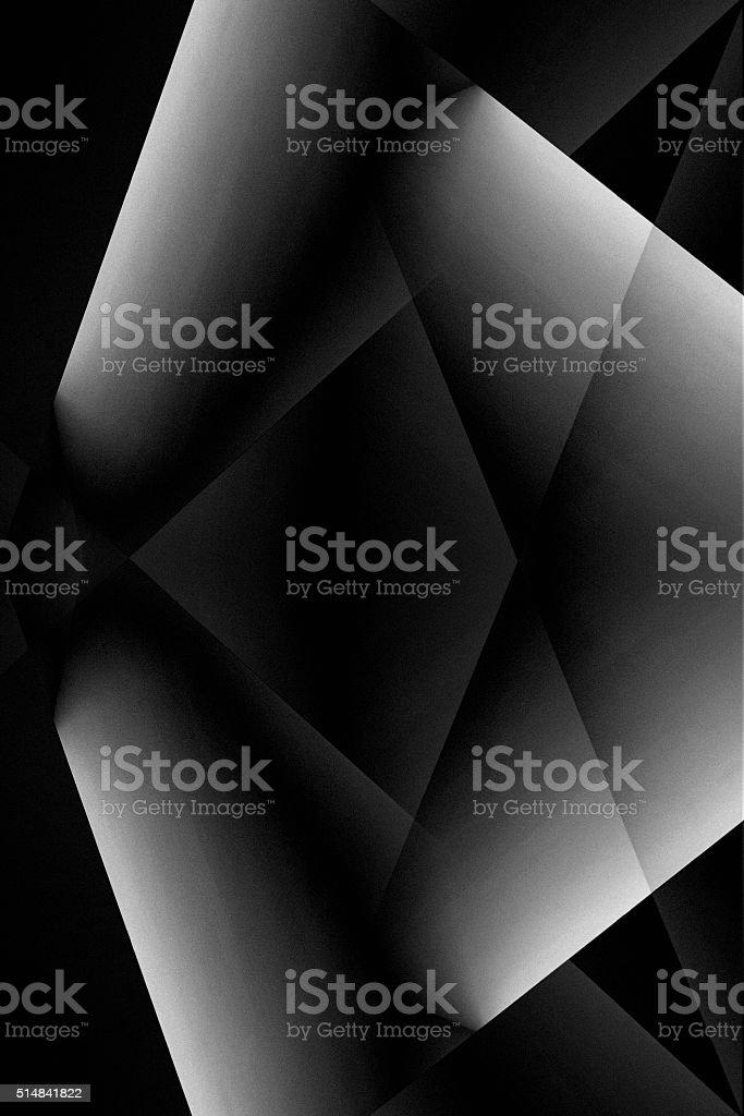 Futuristic polygonal grayscale interior fragment in chiaroscuro style stock photo