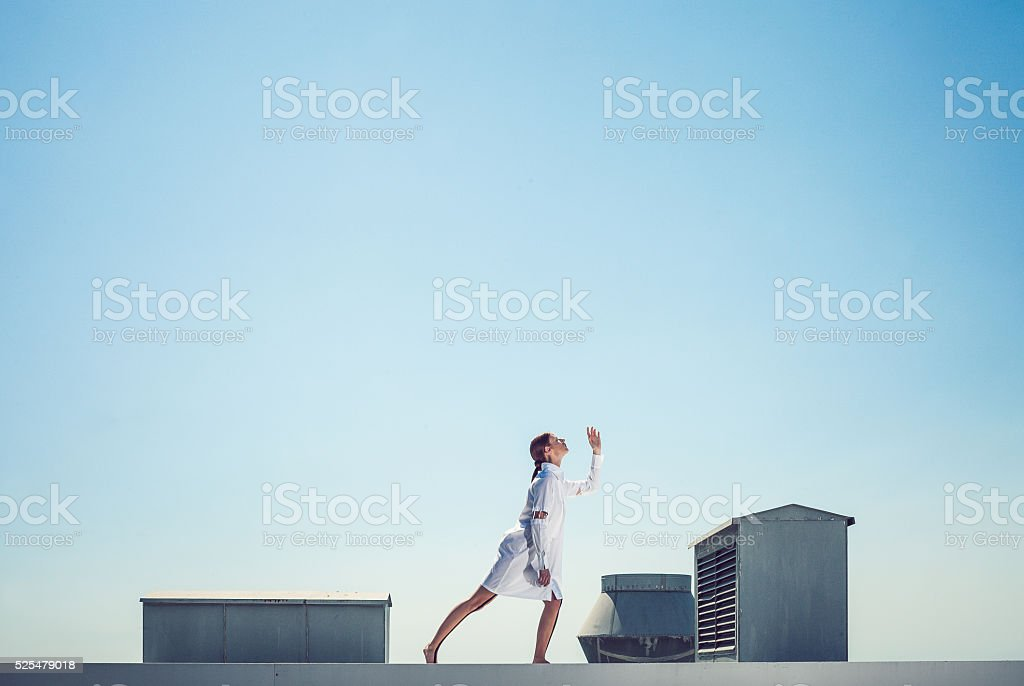 Futuristic portrait of a fashion model stock photo