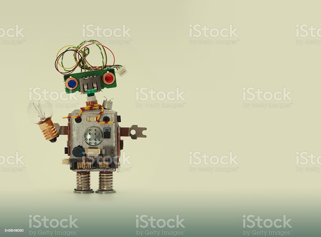 Futuristic robot concept with electrical wire hairstyle. Circuits socket chip stock photo