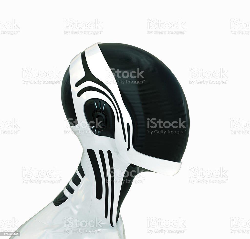 Futuristic robotic head in helmet stock photo