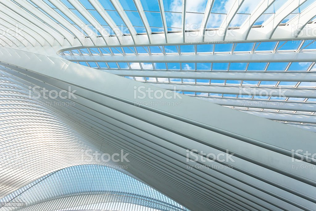 Futuristic roof of a modern building stock photo