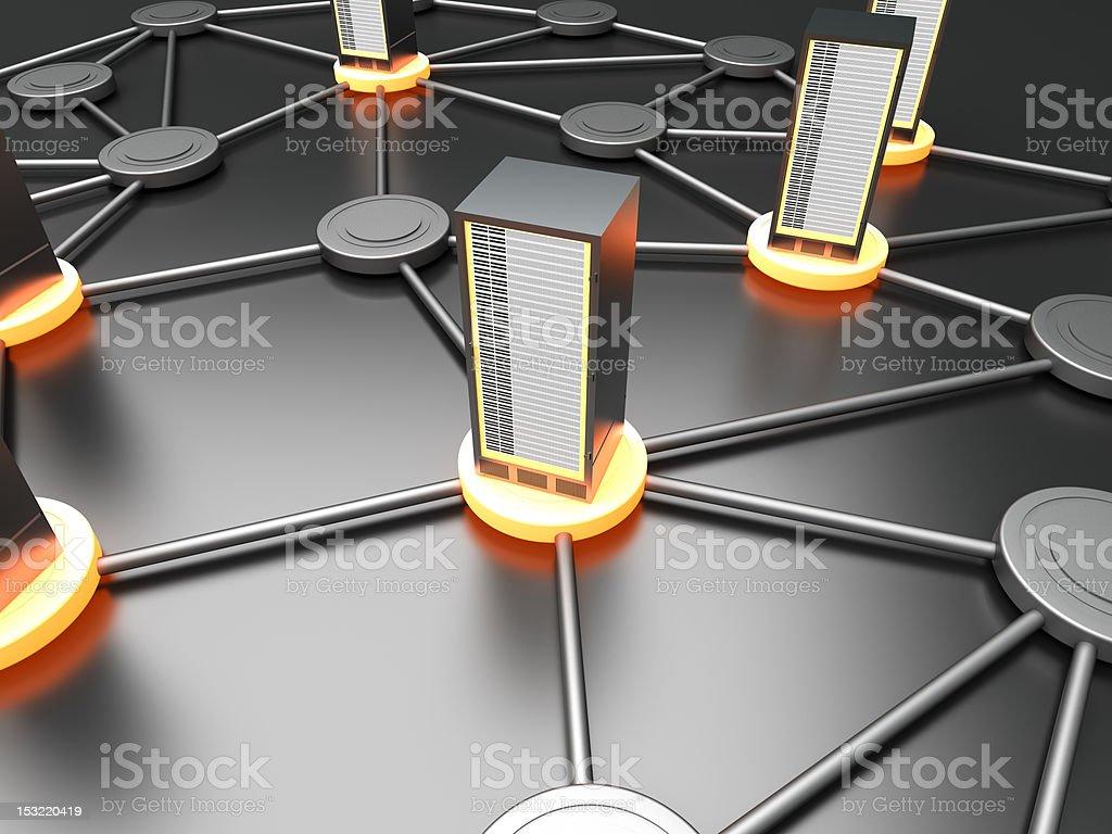 A futuristic server cloud concept stock photo