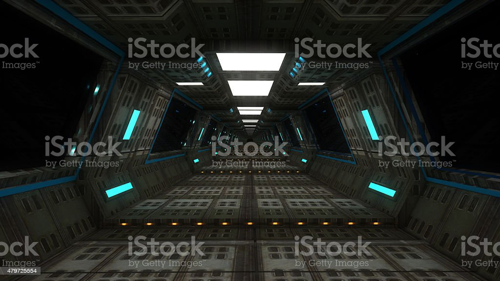 Futuristic ship interior module stock photo