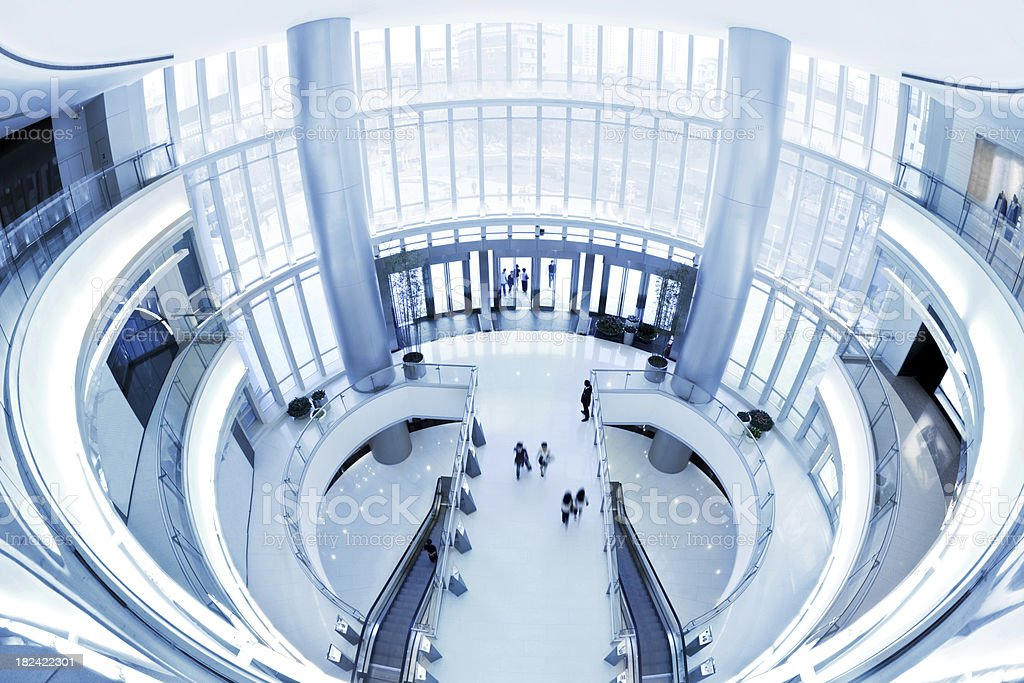 Futuristic shopping mall in fisheye lens royalty-free stock photo