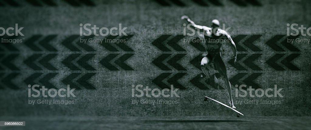 Futuristic skateboarder stock photo