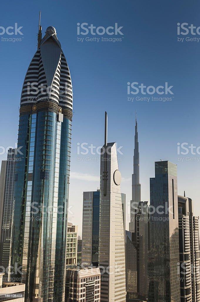Futuristic skyscraper citycape Dubai royalty-free stock photo