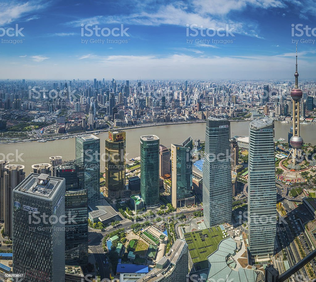 Futuristic skyscrapers crowded cityscape of soaring towers Shanghai China stock photo