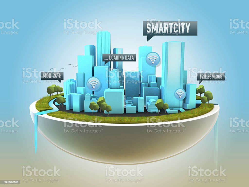 Futuristic smart city with clean and warm enviroment stock photo