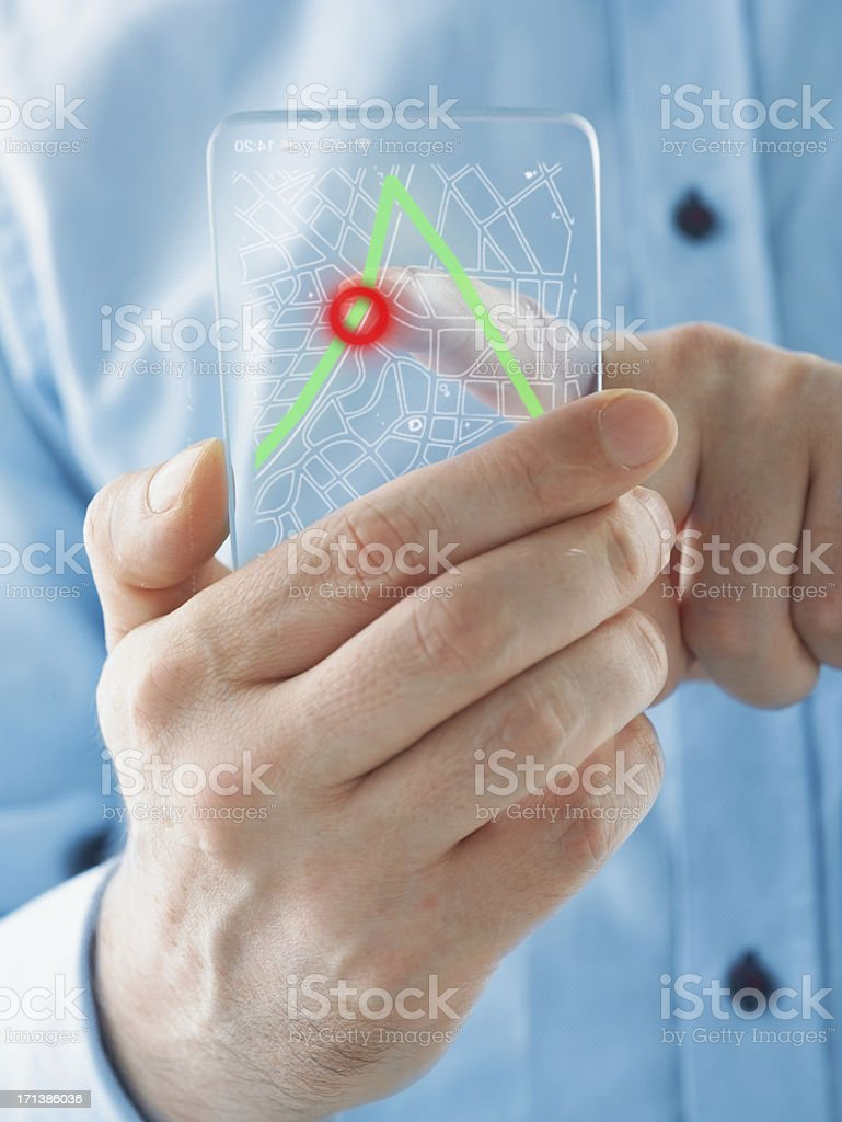 Futuristic smartphone in the hands stock photo
