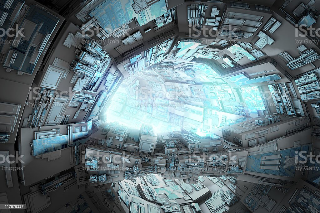 Futuristic space station - tunnel royalty-free stock photo