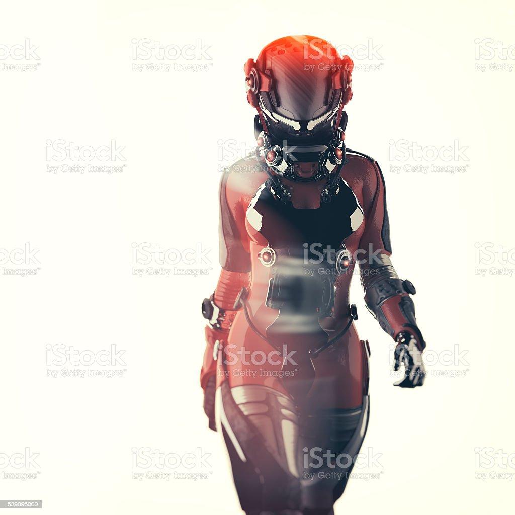 Futuristic spacesuit, astronaut, cyborg stock photo