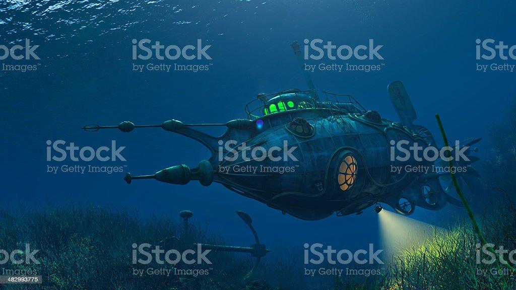Futuristic Steampunk Submarine stock photo