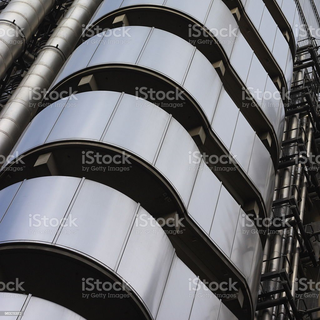 futuristic steel stairs stock photo