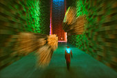 Futuristic street, man walking