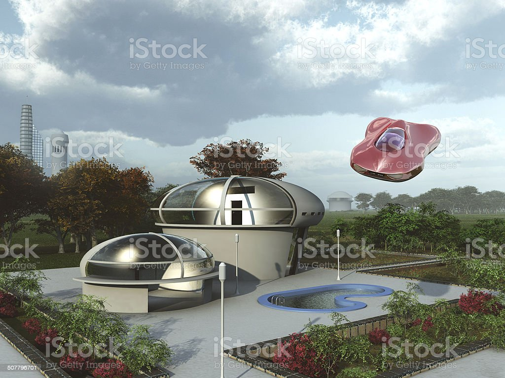 Futuristic suburban home stock photo