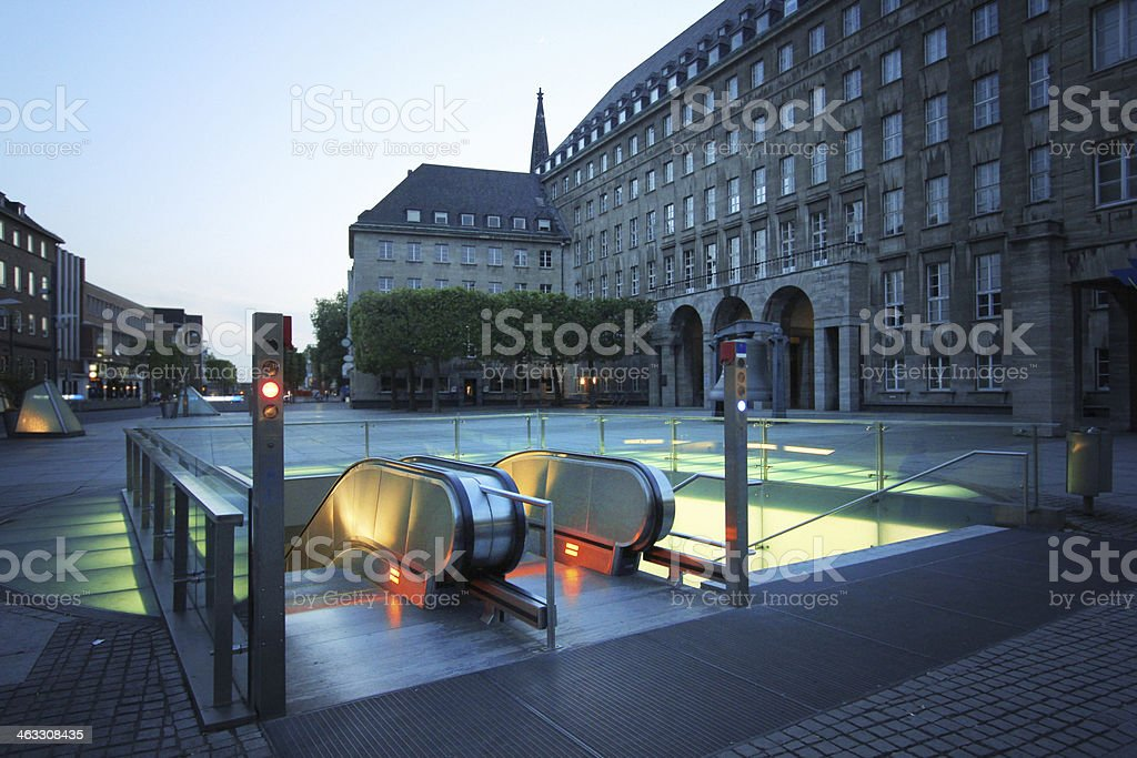 Futuristic subway in German old town stock photo