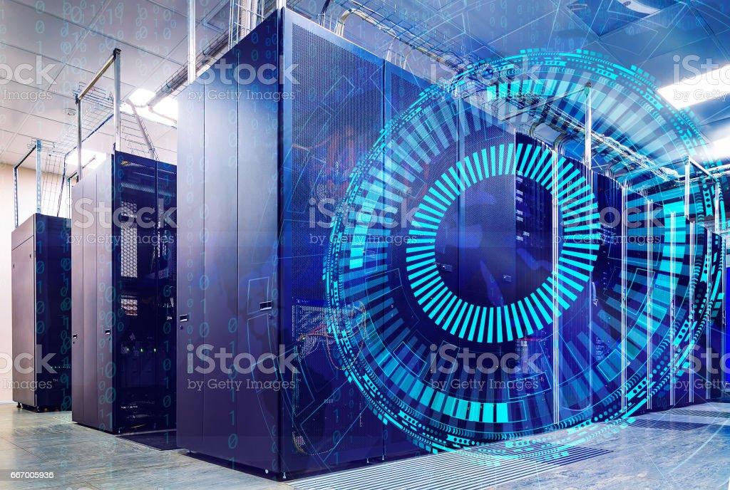 futuristic techno design on background of supercomputer data center stock photo