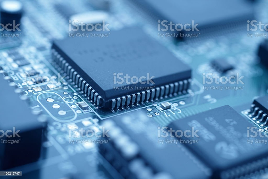 Futuristic technology - Cool blue image of a cpu stock photo