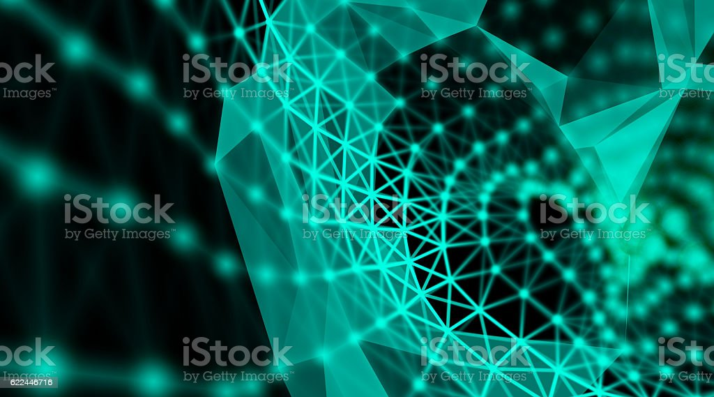 Futuristic technology cyber cube connection world network stock photo