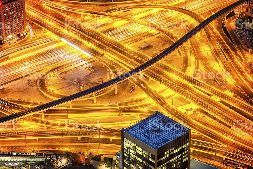 Futuristic traffic junction in Dubai, United Arab Emirates stock photo