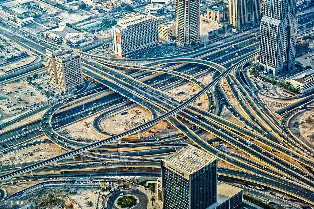 Futuristic traffic junction in Dubai, United Arab Emirates stock photo