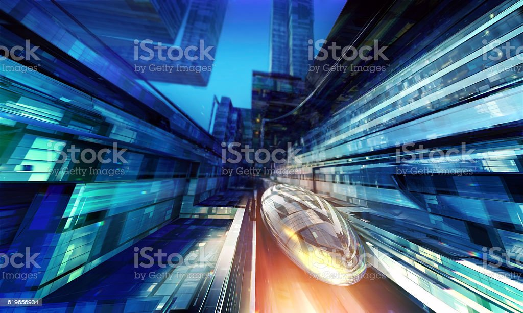 Futuristic train station. stock photo