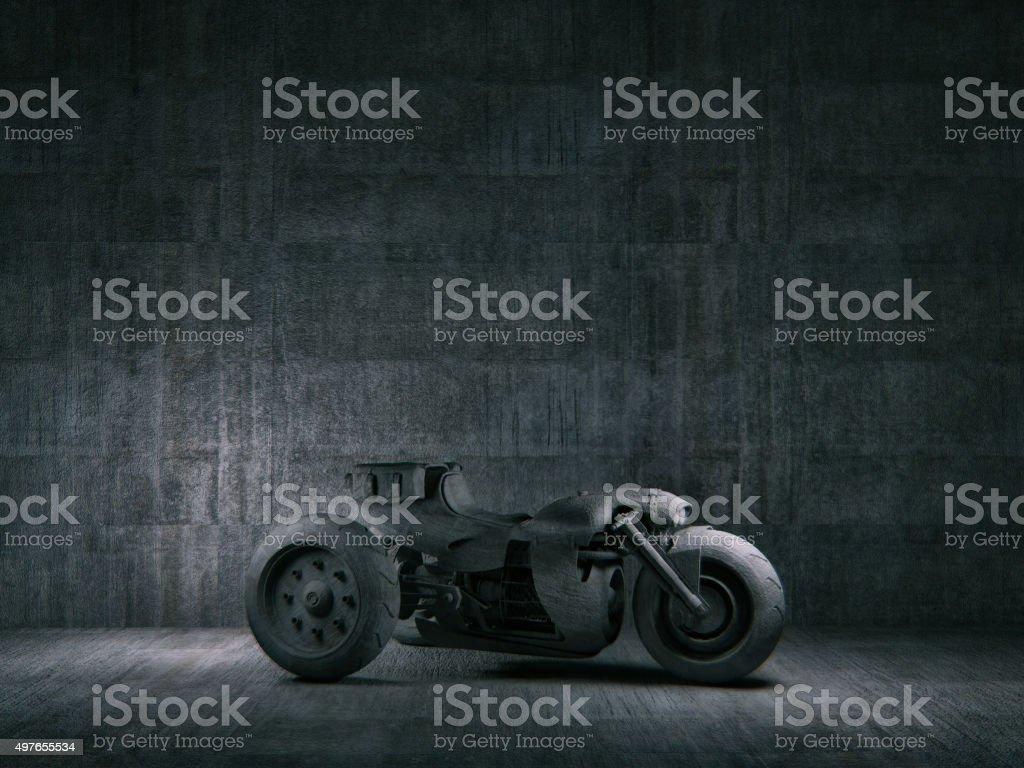 Futuristic trike against concrete background stock photo