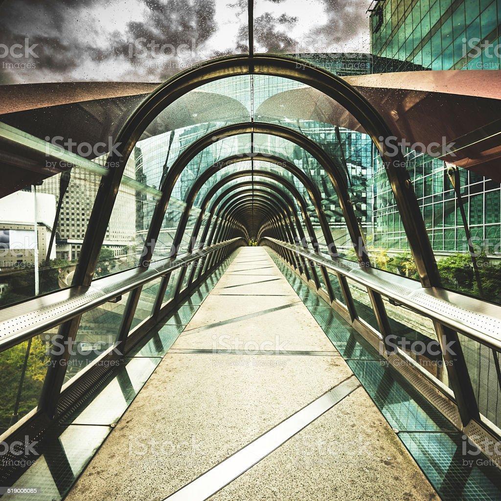 Futuristic tunnel in paris stock photo