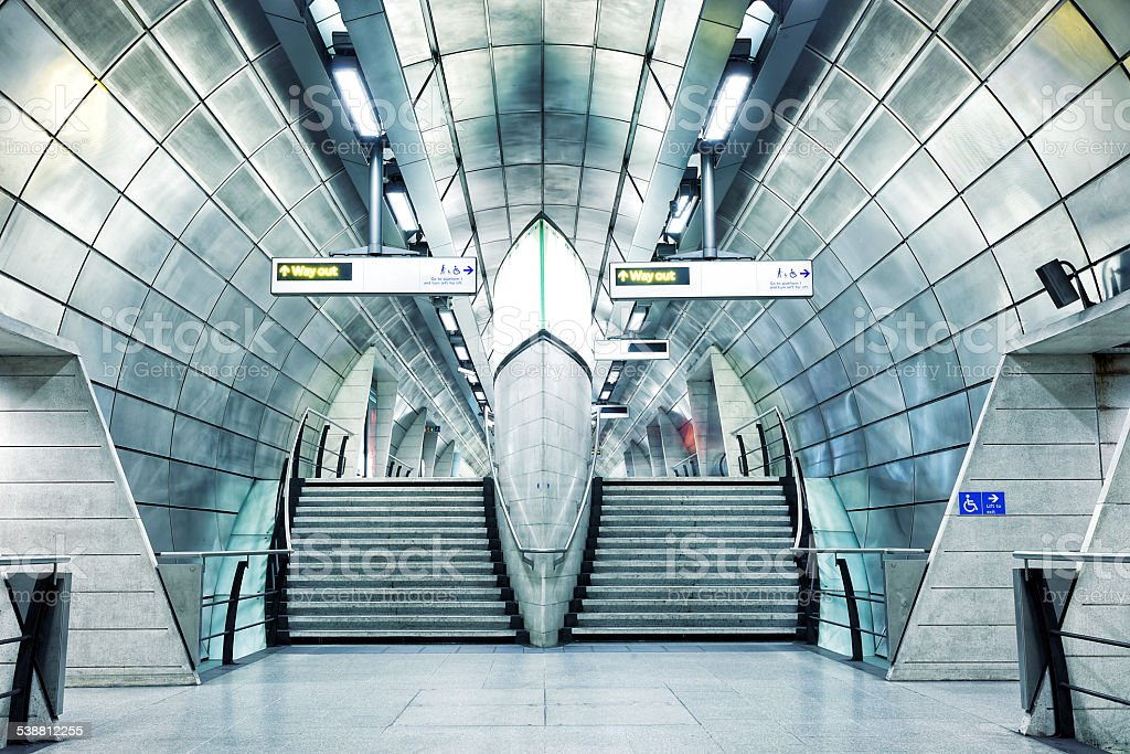Futuristic Underground Station in London, England stock photo