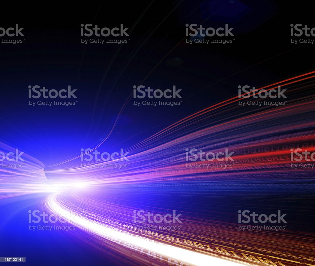 Futuristic Urban City with Freeway Traffic royalty-free stock photo